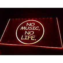 No Music No Life Bombilla LED Cartel Cartel Cargar Reklame Neon Neon Cartel Bar Discoteca on Air TV Radio