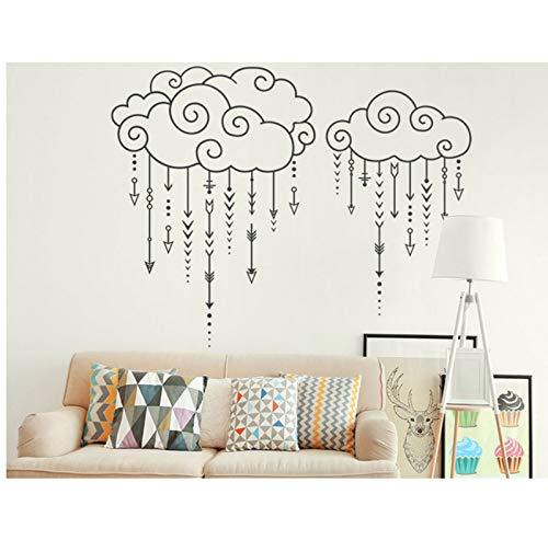 (Wiwhy Swirly Wolken Raining Arrows Geometrische Wandtattoos Home Kindergarten Vinyl Wandaufkleber Kinder Schlafzimmer Ration Tribal 73X57Cm)