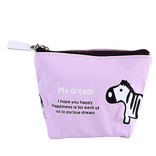 JOOFFF Elefant Zebra Reißverschluss Geldbörse Niedlichen Cartoon Tier Kartenhalter Mini Schlüssel Fall Brieftasche Frauen Mädchen Mode Ändern Tasche Für Dame, Rosa Zebra -