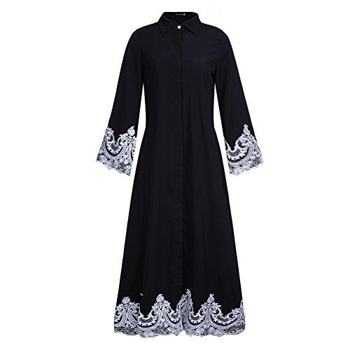 Dreamskull Muslime Muslim Abaya Dubai Kleid Muslimisch Islamisch Arab Arabisch Indien Türkisch Casual Abendkleid Abendmode Kaftan Kleidung Maxikleid A Linie V Ausschnitt Dress Damen Frauen (L, 4905)