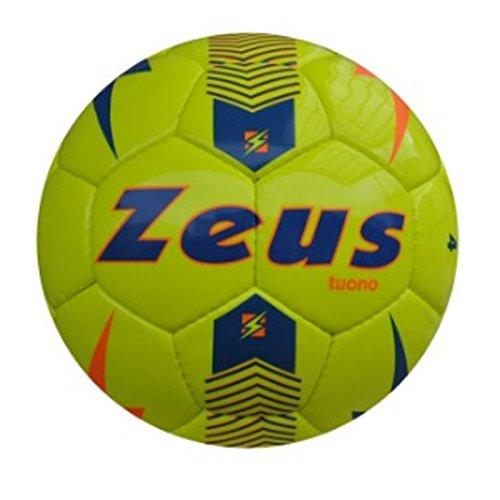 Zeus Pallone da Calcio Tuono Ball Calcetto Sport Pegashop Taglia 4 (GIALLO FLUO-LIGHT ROYAL-ARANCIO, 4)