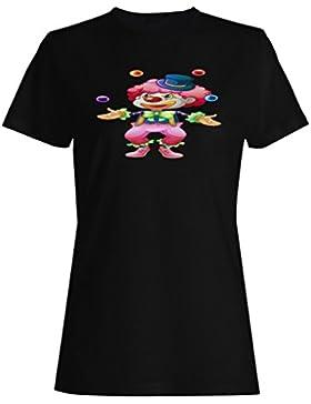 Payaso con pelotas de dibujos animados divertido camiseta de las mujeres g146f