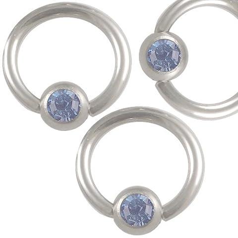 16g 16 gauge 1.2mm 5/16 8mm Steel eyebrow lip bar ear tragus closure bcr captive bead ring Light Sapphire Crystal AIMG Jewellery Body Piercing