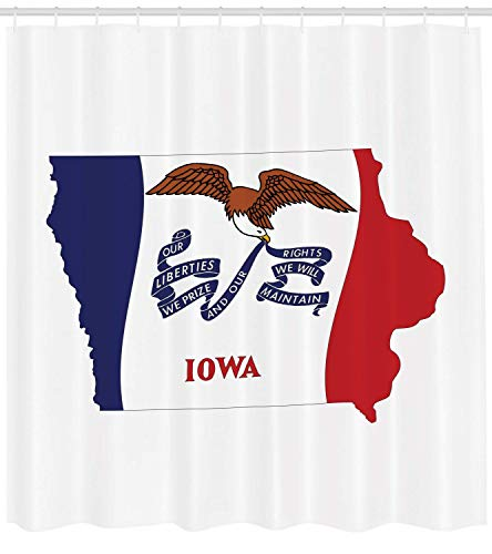 XIAOYI Iowa Shower Curtain, The Hawkeye State Map and Flag Bald Eagle Carrying Streamer Beak, Fabric Bathroom Decor Set with Hooks, 60x72 Inches Extra Wide, Cobalt Blue Vermilion and White (Streamer-ideen Für Halloween)