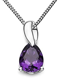 Miore Women's 9 ct White Gold Pear Shape Amethyst Pendant with Curb Chain of 45 cm