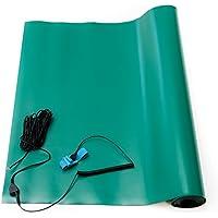 Bertech ESD alta temperatura alfombrilla de goma Kit con una correa de muñeca y cable de conexión a tierra, 0,08cm de grosor, verde
