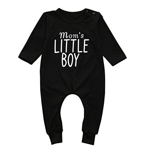 erthome Baby Jungen Brief Print Strampler Kleidung Neugeborenen Kinder Overall Pyjamas Outfits (Schwarz, 0-6 Monate) (Baby-jungen Overall)
