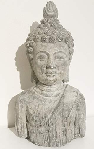 Buddha-Kopf - Gartenstatue/Skulptur, Steineffekt-Finish, frostsicher