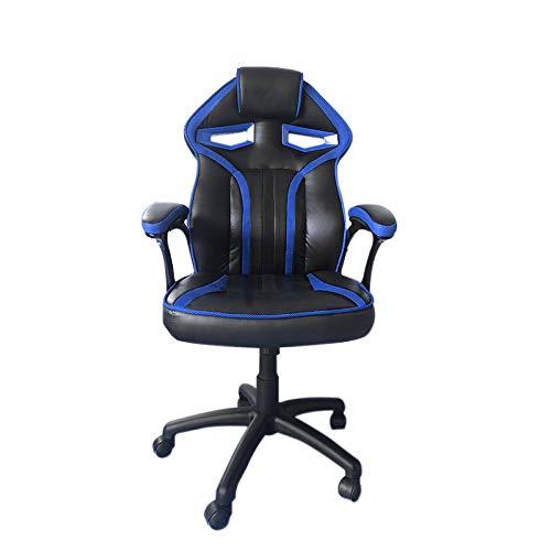 saiwhale PU-Leder Gaming Stuhl Bürostuhl,Computer Stuhl, Verstellbarer Spielstuhl,Gamer Stuhl, Schreibtischstuhl mit Fußstützen - Verstellbarer (DREI Farben erhältlich) (Schwarz und blau)