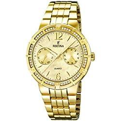 University Sports Press F16701/2 - Reloj de cuarzo para mujer, con correa de acero inoxidable chapado, color dorado