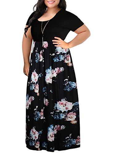 Nemidor Damen Maxikleid mit Chevron-Print, kurzärmelig, Übergröße, lässiges Kleid - schwarz - 16W (Damen Chevron Maxi-kleid)