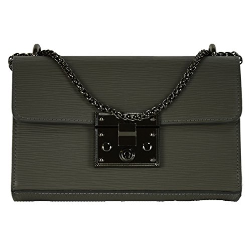 Tracolla Donna In Vera Pelle Colore Grigio Scuro - Pelletteria Toscana Made In Italy - Borsa Donna