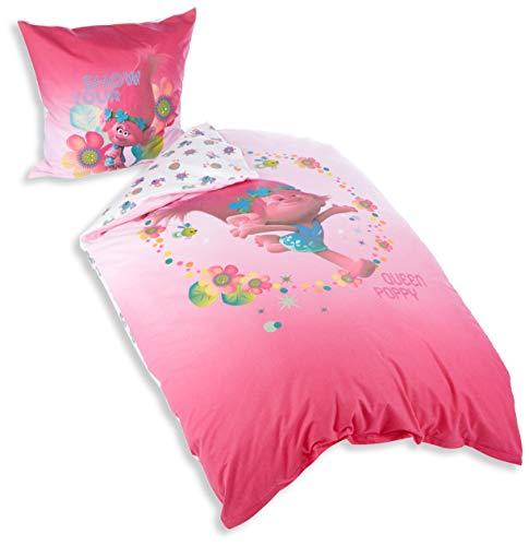 Trolls Bettwäsche-Set, Flanell, Pink, 135 x 200 cm, 2-Einheiten (Flanell-bettwäsche Amazon-bettwäsche)