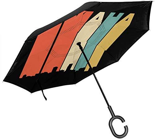 Ombrelli asiatici dragon silhouette-1 reverse car con impugnatura a c protezione uv e pioggia ombrello unico antivento per viaggi e auto