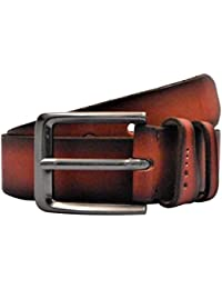POLO INTL Men's Leather Belt (Cherry Red, 36 inches)