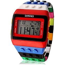 fenkoo Unisex Arco Iris Digital de reloj de pulsera, rojo