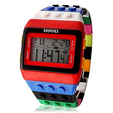 Regenbogen - unisex Block Backstein-Stil Armbanduhr mit LED-Nachtlicht -