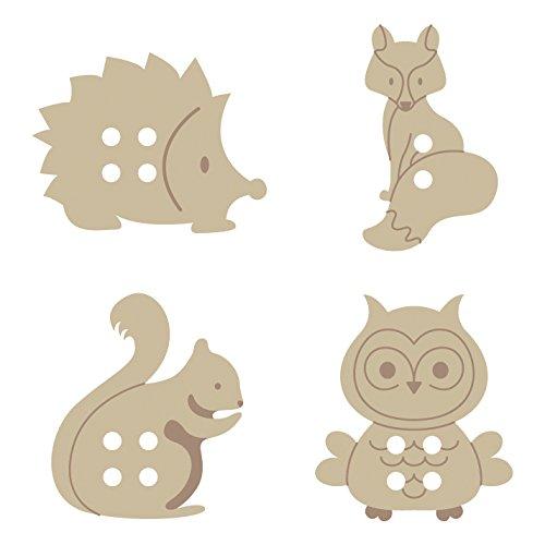 Artemio 2,5 cm animales del bosque de botones de madera, 24 UNIDADES, Beige