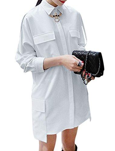 Femme Veste Droite Poches Front Décontracté Boyfriend T-shirt Blanc