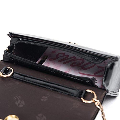 FZHLY Nuova Catena Piccola Piazza Del Fashion Bag Borsa A Tracolla,Black Champagne
