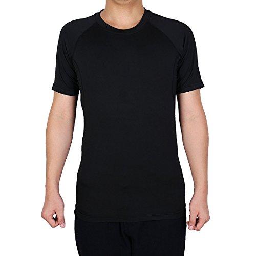 sourcingmap Erwachsene Männer Athletic Short Ärmel Sportkleidung Badminton Sport T-Shirt schwarz XL - Xl Lacrosse Shorts