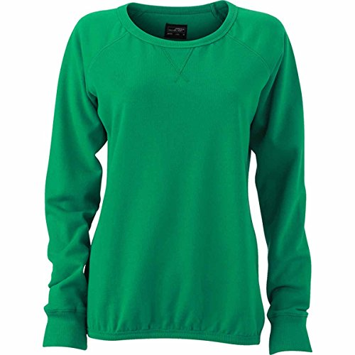 JAMES & NICHOLSON - sweat-shirt french terry - encolure ronde dégagée - JN991 - femme Vert