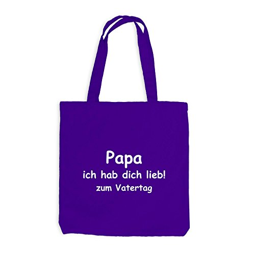 Jutebeutel - Papa - Ich habe dich lieb zum Vatertag - Dads day Violett