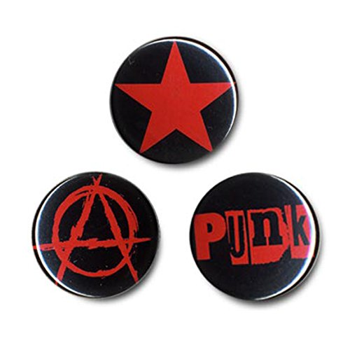 Preisvergleich Produktbild Anarchopunk Button 3er Set - Anstecker - Lizenziertes Originaldesign - LOGOSHIRT