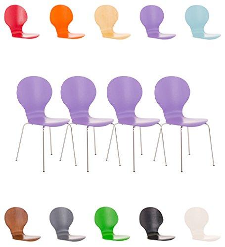 Clp set 4 sedie impilabili diego in legno robusto   sedia attesa telaio in metallo   sedia ergonomica e facile da pulire   sedia conferenza   sedia design classico per riunioni o sale viola