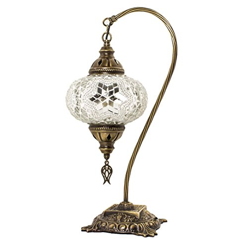 Lampade da tavolo e abat-jour - Lampada da tavolo a mosaico turca, splendido stile marocchino, paralume globo unico, collana a collo di cigno