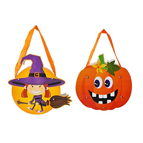 UPKOCH 2pcs Halloween Candy Taschen mit Griff Cartoon Papier Tote Geschenk für Süßes oder Saures, Halloween Party Favors, Halloween Snacks, Halloween Goodie Taschen, Eimer Dekoration (Kürbis + Hexe)