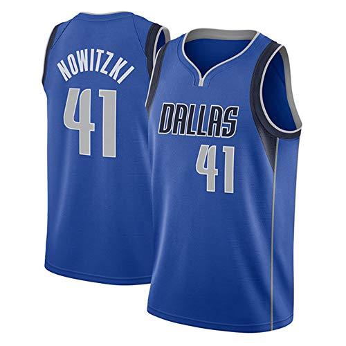 Herren Retro Basketball Uniform NBA Dallas Mavericks 41# Nowitzki Sommersport Trikot, Basketballhemd Klassisches Stickerei-Top -