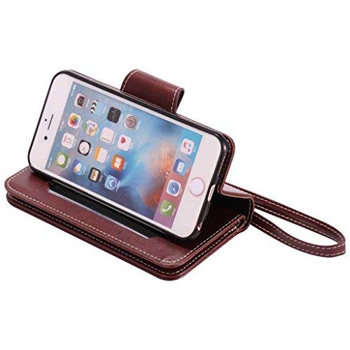 Coque iPhone 6s, BoxTii® Coque iPhone 6 / iPhone 6s Housse Etui en Cuir, Coque Portefeuille Case avec Fonction Stand, Rabattable Fermeture Magnétique et Porte-Cartes pour Apple iPhone6 / iPhone6s avec #4 Brun