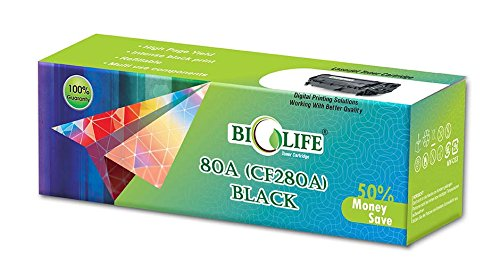Biolife 80A / CF280A Black Compatible Toner Cartridge for HP Printer LaserJet Pro 400 M401a MFP, 400 M401d MFP, 400 M401dn MFP, 400 M401dne MFP, 400 M401dw MFP, 400 M425dn MFP, 400 M425dw MFP , 400M401N  available at amazon for Rs.1699