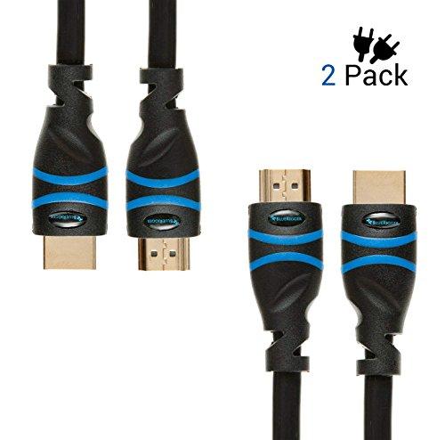 BlueRigger Basic Highspeed-HDMI-Kabel (2m/ 6 Fuß), 2er-Pack - unterstützt 4K, Ultra HD, 3D, 1080p, Ethernet und Audio Return (aktueller Standard) -