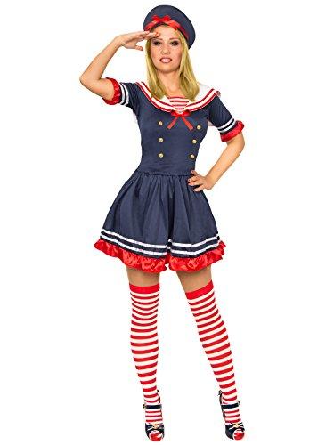 se Matrosin Damenkostüm Seglerin Dunkelblau-Weiss-Rot M (Sailor Girl Kostüm Schuhe)