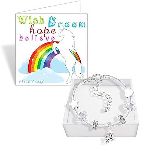 Girls Unicorn White Leather Charm Bracelet Set and Greeting Card Gift Box Set Jewellery (2. Iced Silver)