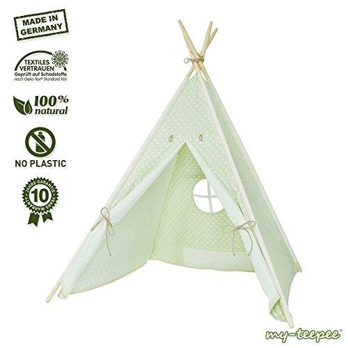 Spielzelt für Kinder,aus schadstofffreiem Material, Holzstangen Aspe natur, Bezug 100 % Baumwolle Ökotex 100, Höhe ca. 150 cm, mit verschließbarem Fenster, grün / beige mit Punkten