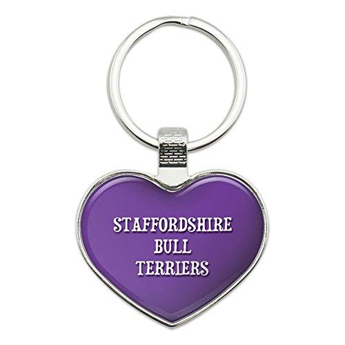 Metall Schlüsselanhänger Kette Ring lila ich liebe Herz Hunde s-y Staffordshire Bull Terriers