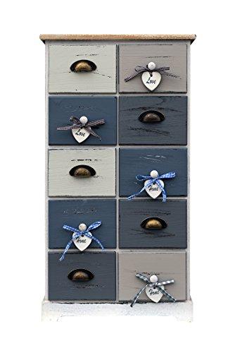 Rebecca srl cassettiera comò armadio 10 cassetti bianco grigio blu vintage shabby chic camera da letto soggiorno (cod. re4485)