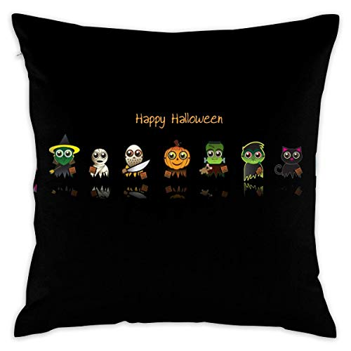 Cut Cartoon Happy Hallowen Cushion CoveCase Pillow Custom Zippered Square Pillowcase 18x18 (one Side) Pillow Cases online
