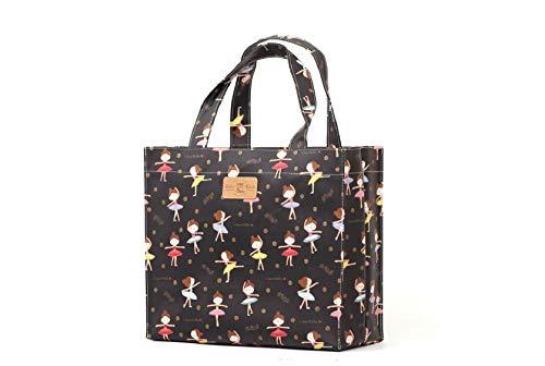 Sturdyfoot s borsa per i libri, borsa porta pranzo, borsa grande, borsa shopping, borsa da palestra, tela cerata borsa - nero da fata