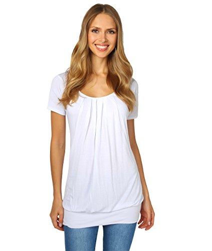 (KRISP Damen Langes Gerafftes Shirt mit Breitem Bund (Weiß, Gr.36) (5079-WHT-08))