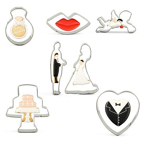 KENIAO 7-tlg Hochzeit Ausstechformen Valentine Ausstecher,Herz-Plätzchen-Cutter Ausstechformen Torten Fondant