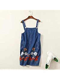 45df5caec1b World 2 home X818-3 women sweet floral embroidery denim suspender skirt  ladies buttons blue