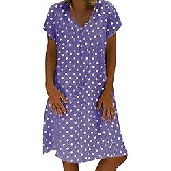Kingwo Mini Vestido, Vestido Corto de Playa con Estampado de Lunares, Vestido Suelto, Casual, Holgado, de Verano, Talla Grande 8~22