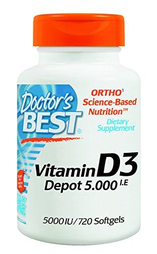Besten Vitamin (Doctor's Best, Vitamin D3 Depot , 5000 I.E, 720 Weichkapseln, Wochendosis)