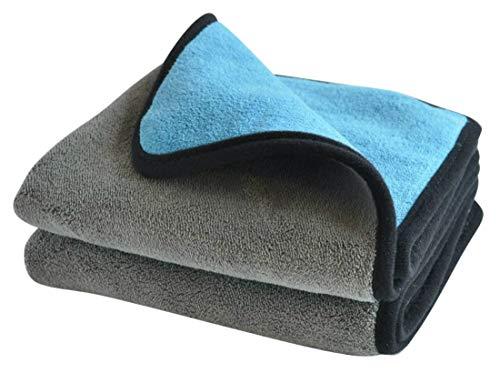 Manik Mikrofasertuch für Auto oder Motorrad - Pflege für innen und außen - 800 GSM, 40x40cm, grau/blau - saugstark, fusselfrei, lackschonend - 2er Set - Microfasertuch - Auto Pflege - Poliertuch
