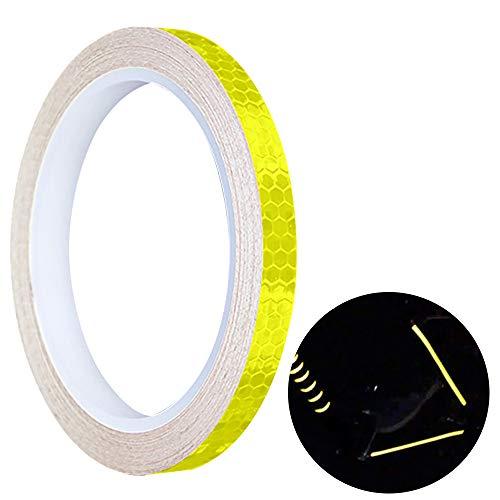 Switty 1 Rolle Waben Reflexstreifen PVC Selbstklebende Fahrrad Reflexstreifen Sicherheit Warnung Erkennbarkeit Band Aufkleber Für Auto LKW Fahrrad Nacht Radfahren Werkzeug (Gelb)