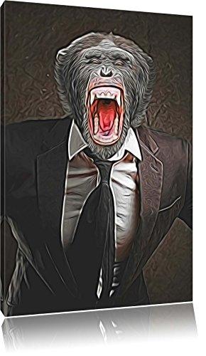 schreiender Affe im Smoking Format: 60x40 auf Leinwand, XXL riesige Bilder fertig gerahmt mit...